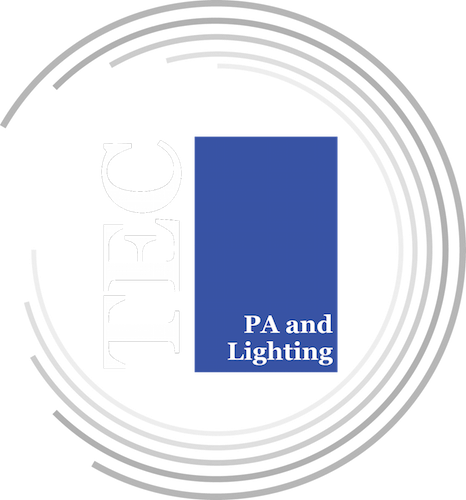 TEC Logo, 'TEC' in serif with 'PA and Lighting' in a blue box surrounded by rings
